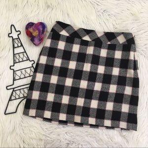 Ann Taylor LOFT Mini Wool Checkered/Plaid Skirt